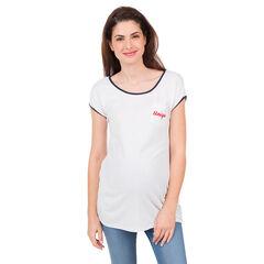 Camiseta de manga larga con bolsillo e inscripción bordada