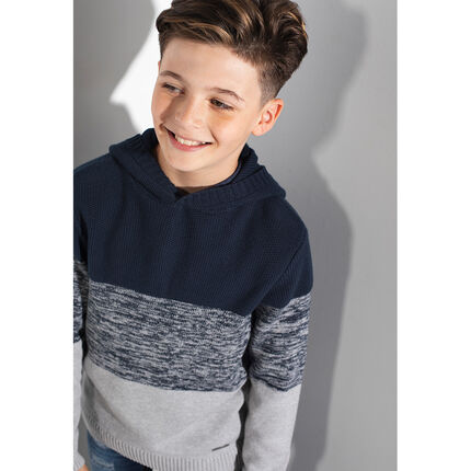 Júnior - Jersey de punto con capucha tricolor
