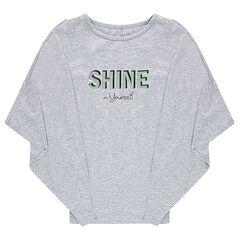Camiseta de murciélago con mensaje metálico brillante