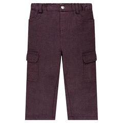 Pantalón de algodón de fantasía con bolsillos con solapa