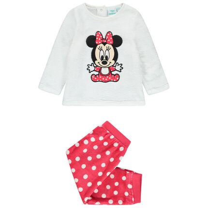 Pijama de terciopelo con bordados Minnie Disney con lunares