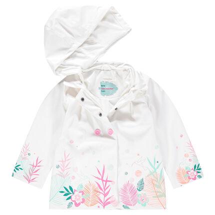 Cortavientos de goma con capucha desmontable y estampado floral