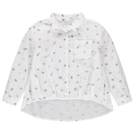 Camisa asimétrica con estampado all over