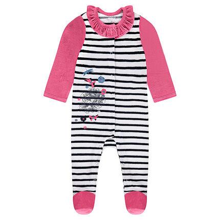 Pijama de terciopelo a rayas con volante en el cuello y bordados de fantasía