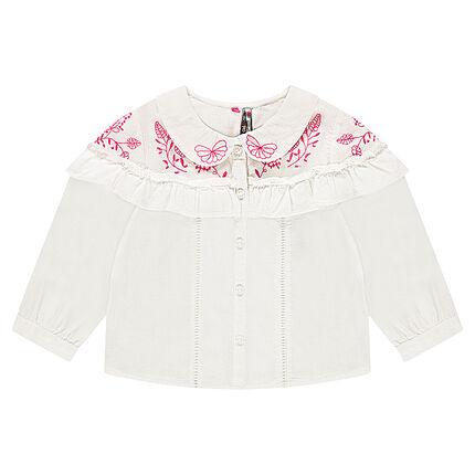 Camisa de algodón de fantasía con bordados y volante