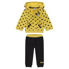 Jogging de muletón amarillo y gris Disney Minnie