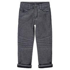 Pantalón jaspeado con forro de polar y pespuntes en las perneras