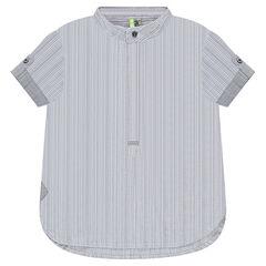Camisa de manga corta de rayas con cuello mao