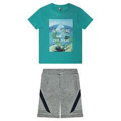 Júnior - Conjunto de camiseta estampada de punto y bermudas de felpa trenzada.