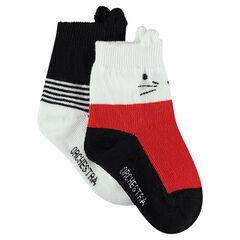 Juego de 2 pares de calcetines variados con canalé de fantasía