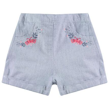 Pantalón corto de algodón de fantasía con bordados finos