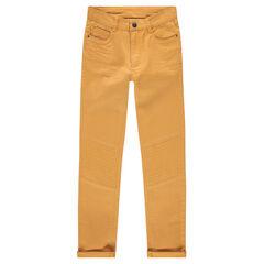 Pantalón slim de raso de algodón color mostaza