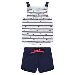Pijama de punto con rayas que contrastan y pantalón corto liso
