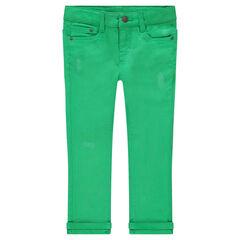 Pantalón de algodón liso verde con efecto desgastado.