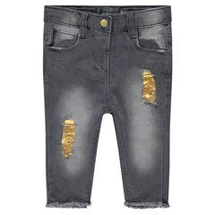 Pantacourt en jeans effet used avec taches gold