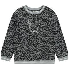 Júnior - Jersey de punto con dibujo de leopardo all over y mensaje bordado