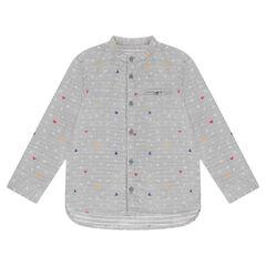 Camisa de manga larga con letras y estampado de Mickey ©Disney