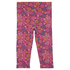 Legging con florido multicolor con forro de tela sherpa