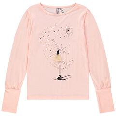 Camiseta con mangas tipo globo y estampado de bailarina con tutú de tul.