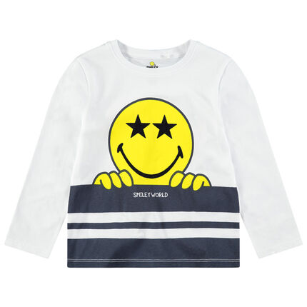 Camiseta de manga larga de punto con ©Smiley estampado