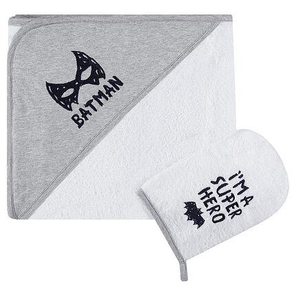 Conjunto de baño con capa y manopla BATMAN