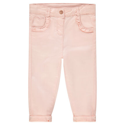 Pantalón de algodón liso con bolsillo con forma de corazón y volantes