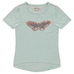 Camiseta de manga corta de punto jaspeado con volantes y mariposas con lentejuelas mágicas