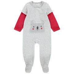 Pijama de terciopelo a rayas con bolsillo de koala