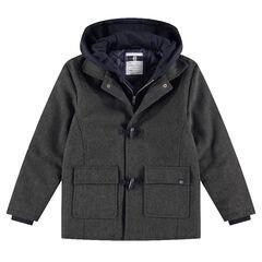 Júnior - Abrigo estilo trenca de paño de lana con capucha