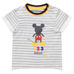 Camiseta de manga corta a rayas con estampado Mickey ©Disney