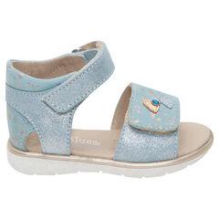 Sandalias azules con velcro y apliques de lentejuelas y corazones