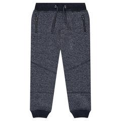 Pantalón de chándal de felpa jaspeada con bolsillos con cremallera