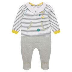 Pijama de jersey efecto 2 en 1 con cuello de fantasía y bolsillo