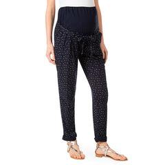 Pantalón premamá de sarga con estampado all-over y banda en la parte superior