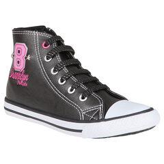 Zapatillas de deporte de cañas altas con cordones de color negro abertura con cremallera con impresos con remaches