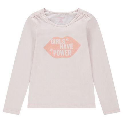 Júnior - Camiseta de manga larga de punto liso con boca estampada brillante
