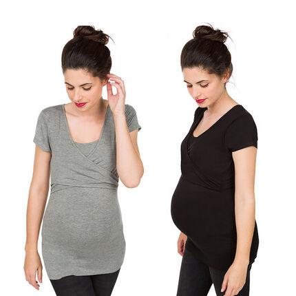 Pack de 2 camisetas de manga corta de embarazo y lactancia