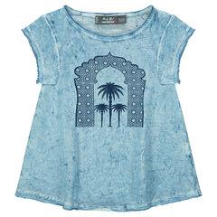 Camiseta de manga corta de punto sobreteñido con estampado de palmeras