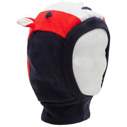 Gorro de punto con cabeza de zorro y orejas de relieve con detalles bordados