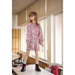 Júnior - Vestido de manga larga con flores y cuello de fantasía