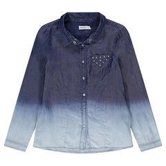 Junior - Camisa de Tencel de efecto tie-dye con bolsillo con remaches