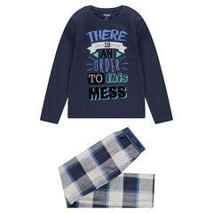 Júnior - Pijama con parte superior estampada y pantalón de franela de cuadros