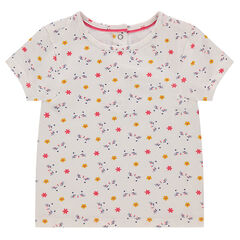 Camiseta de manga corta de punto con flores estampadas
