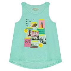 Júnior - Camiseta de punto slub con estampado de fantasía