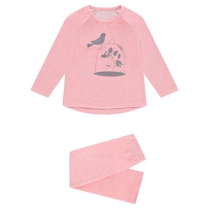 Pijama de terciopelo con pájaro estampado