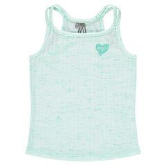 Júnior - Camiseta de tirantes de canalé de punto slub con corazón brillante estampado