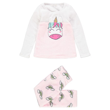 Pijama de borreguillo con unicornio bordado y arcos iris