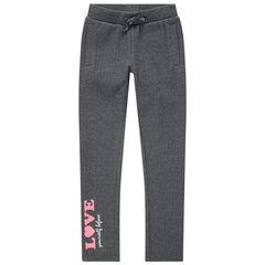 Pantalón de chándal con inscripción estampada rosa