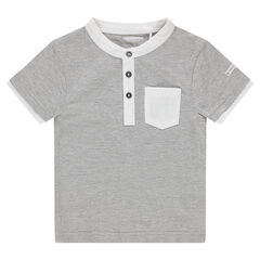 Camiseta de manga corta de punto con cuello de fantasía y bolsillo