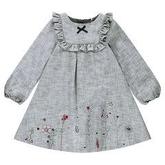 Vestido de manga larga de espiguilla de algodón con flores estampadas y lazos